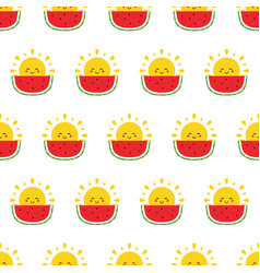 seamless pattern with sun character and watermelon vector image