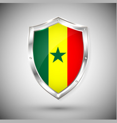 senegal flag on metal shiny shield collection of vector image