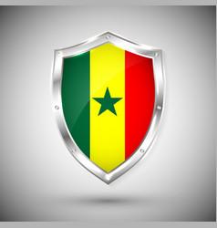 senegal flag on metal shiny shield collection vector image