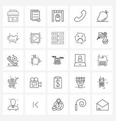 Set 25 line icon signs and symbols fruit vector