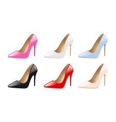 set elegant women shoes colorful high heels vector image