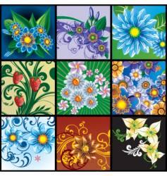Set floral backgrounds vector