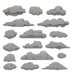 set grey clouds different forms vector image