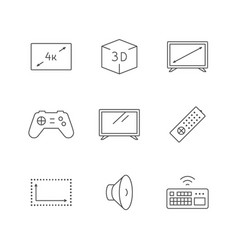 set line icons tv vector image