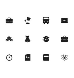 Set of 12 editable school icons includes symbols vector