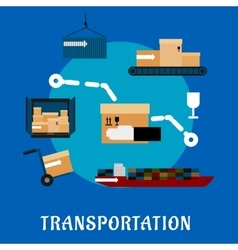 Shipping and logistics flat icons vector