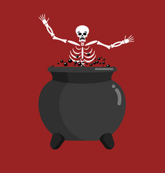 Sinner in boiler skeleton in pot cook for sinners vector