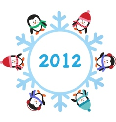 Six penguins with snowflake vector