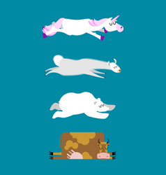 Sleeping animals set 3 unicorn and polar bear cow vector