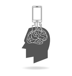 Smart phone rooted in the human brain vector