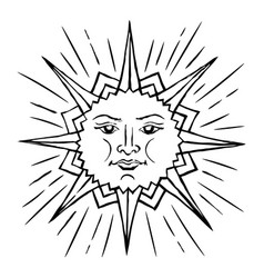 stylized sun sketch vector image