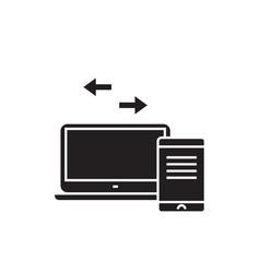 sync devices black concept icon sync vector image