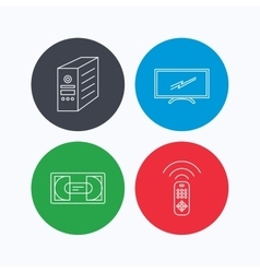 TV remote VHS cassette and PC case icons vector image