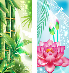 Vertical banners with bamboo and lotus vector image