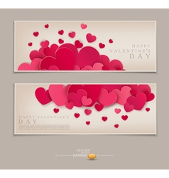 Vintage Template for postcards with many hearts vector