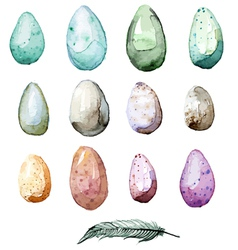 watercolor hand drawn easter egg collection vector image