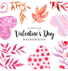 watercolor valentine elements background vector image