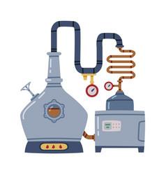Whiskey drink process with distillation in pot vector