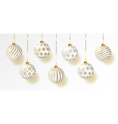White color christmas balls icon set realistic vector