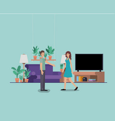 young couple on the livingroom vector image