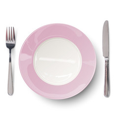 empty plate in rosy design with knife and fork vector image vector image