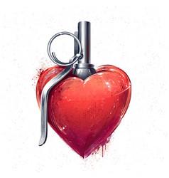 heart grenade art vector image vector image