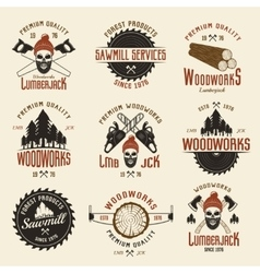 Lumberjack Colored Retro Style Emblems vector image vector image