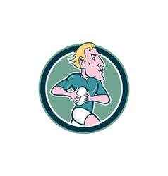 Rugby Player Running Ball Circle Cartoon vector image