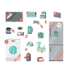 Sale Discount Household Appliances in Flat Style vector image