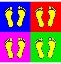 Set of 4 colorful foot steps vector image vector image