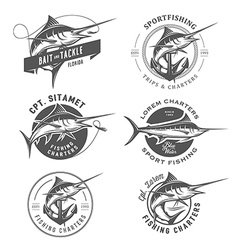 Set of marlin fishing emblems and design elements vector image vector image