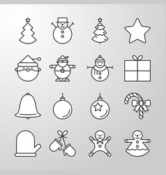 christmas party and happy new year thin line icon vector image