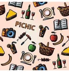 Color hand drawn picnic pattern vector