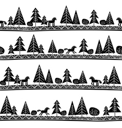 Horse and trees seamless pattern vector