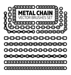 Metal chain links pattern brushes set vector image vector image