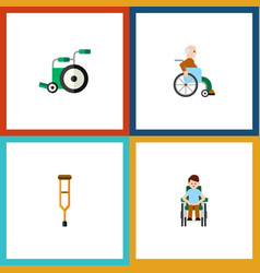 flat icon cripple set of stand handicapped man vector image