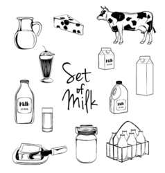 Milk icons set with cow butter cheese isolated vector image vector image