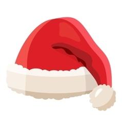 Red Santa Claus hat icon cartoon style vector image