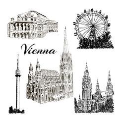 vienna - hand drawn bildings collection vector image