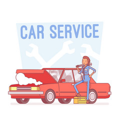 car service center lineart concept vector image vector image