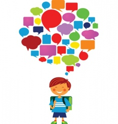child with speech bubbles vector image vector image
