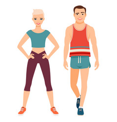 fitness sport style couple vector image