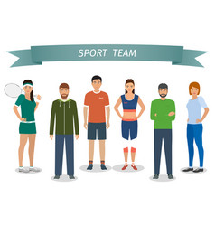 group of people in sportswear standing under vector image