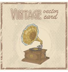 Retro 50s gramophone stylish vintage postcard vector image