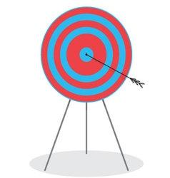 Right in the bullseye Arrow in target vector image