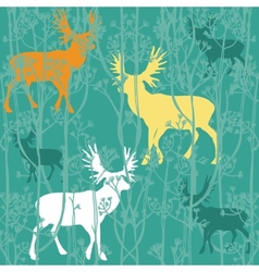 Seamless christmas pattern with deers in the vector image