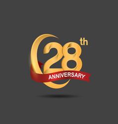 28 anniversary design logotype golden color vector
