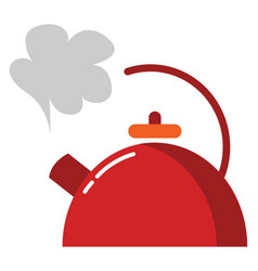 A red-colored teapotevening snacks time or color vector