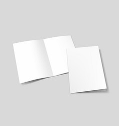 A3 or a4 white blank half-folded brochure vector