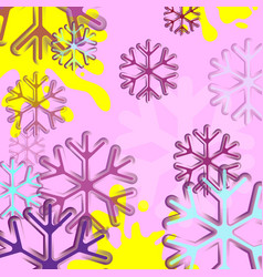 abstract background with snowflake blue and pink vector image